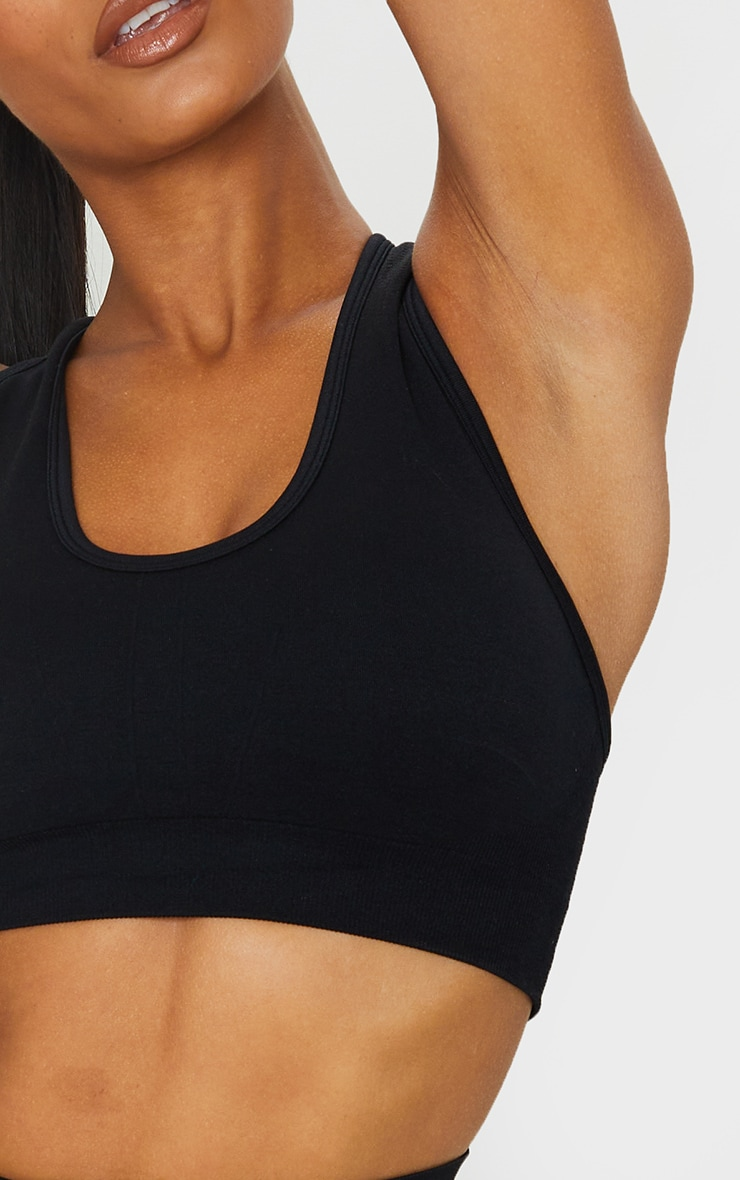 PRETTYLITTLETHING Black Racer Back Padded Seamless Top 4