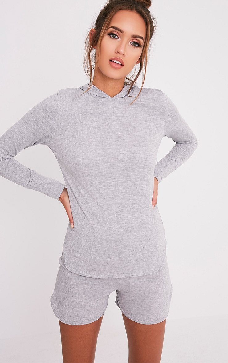 Basic sweat à capuche en jersey gris 1