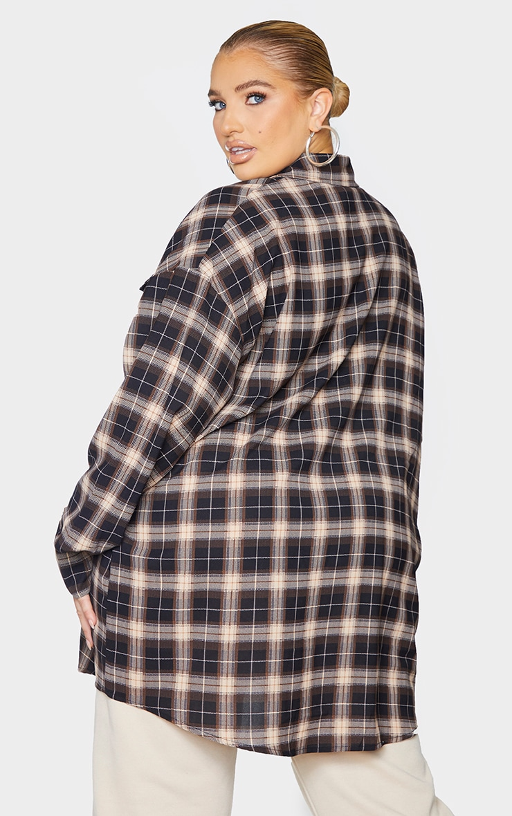 Plus Chocolate Brown Checked Oversized Shirt 2