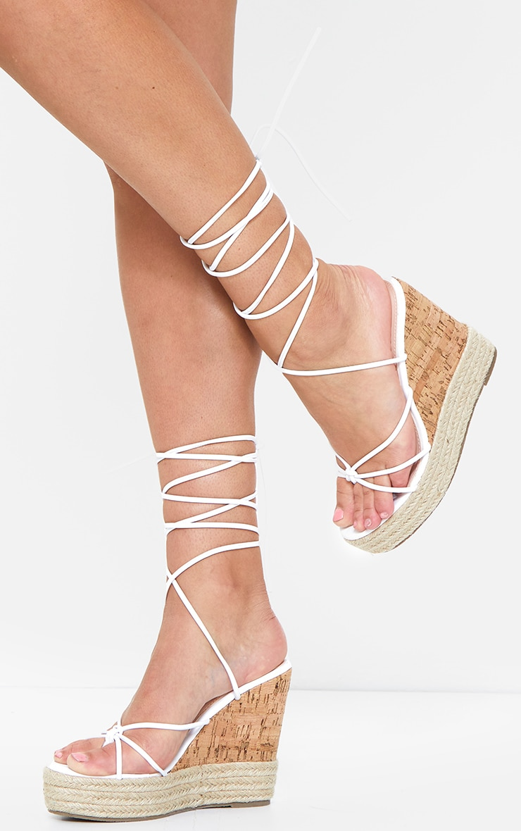 White Toe Thong Strappy Espadrille Wedges 1