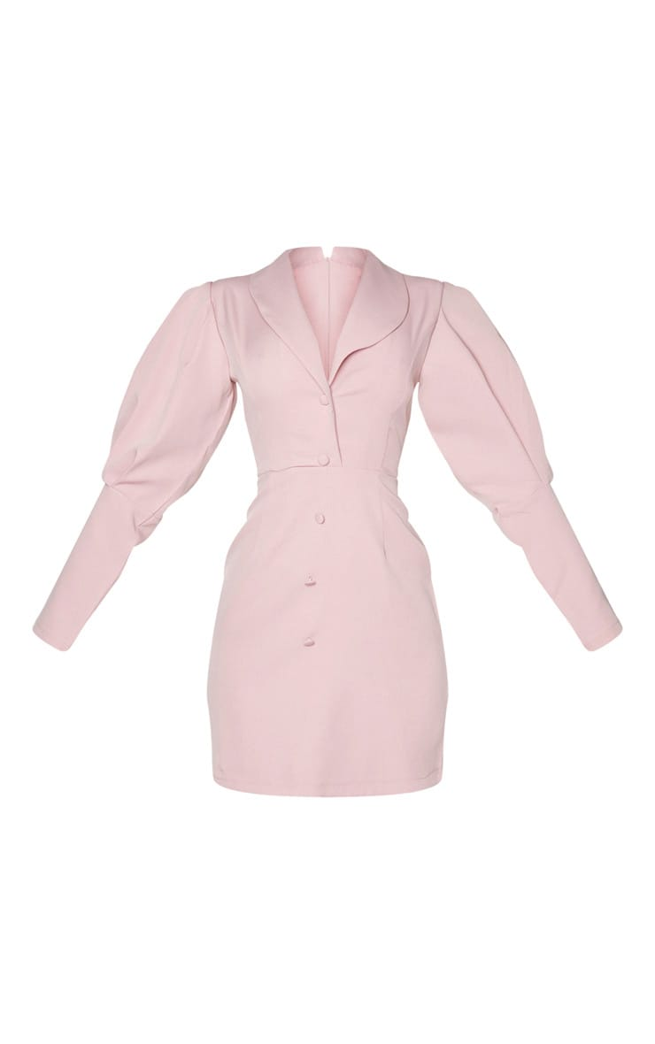 Mauve Puff Sleeve Button Detail Blazer Dress 6