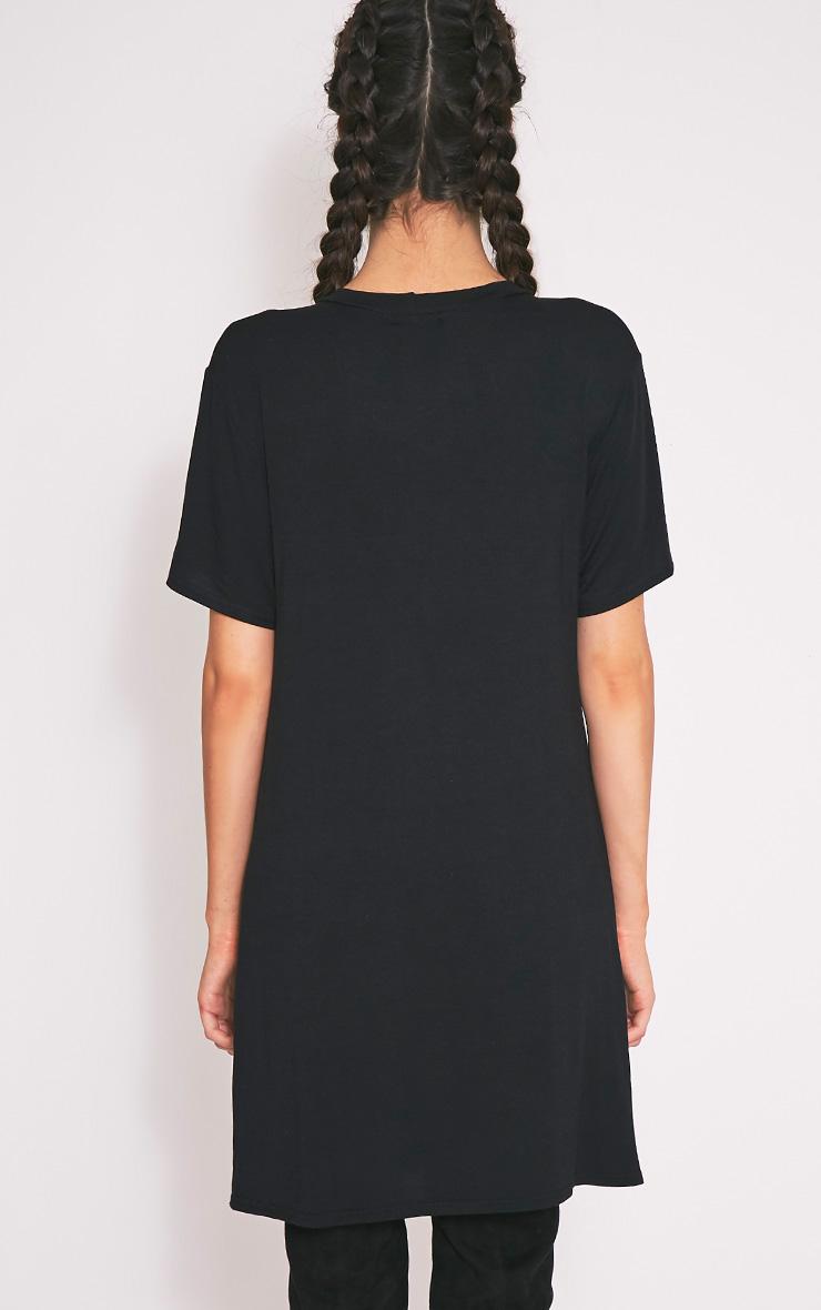 Rock Rebellion Black Printed T Shirt Dress 2