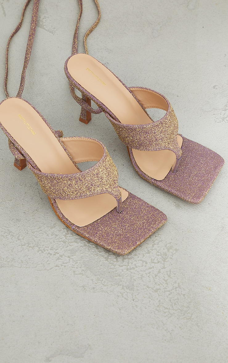 Purple Glitter Square Lace Up Toe Thong Heeled Sandals 3