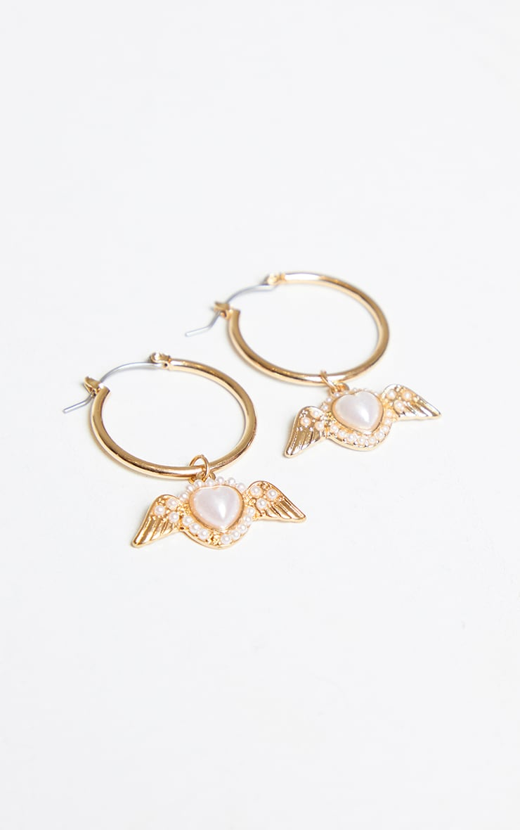 Gold Mini Pearl Wing Hoop Earrings 3