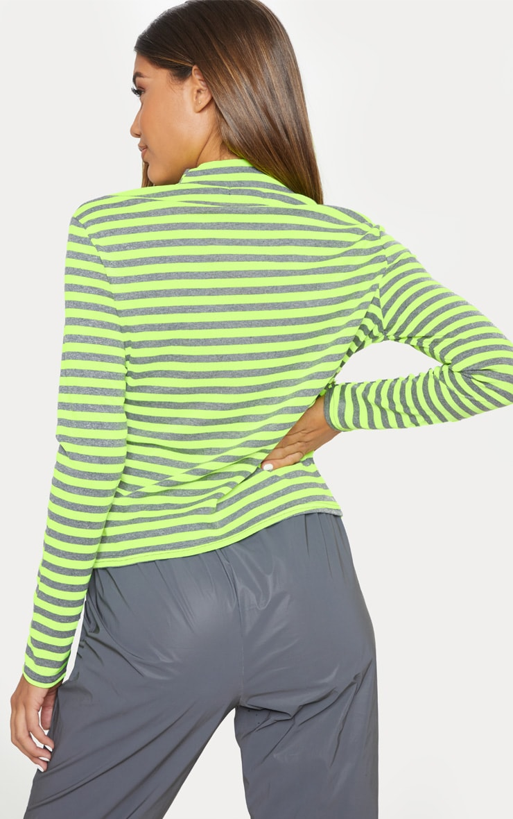 Neon Lime Neon Stripe Cut Out Long Sleeve Top 2