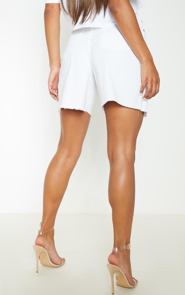 White Longline Denim Shorts 4