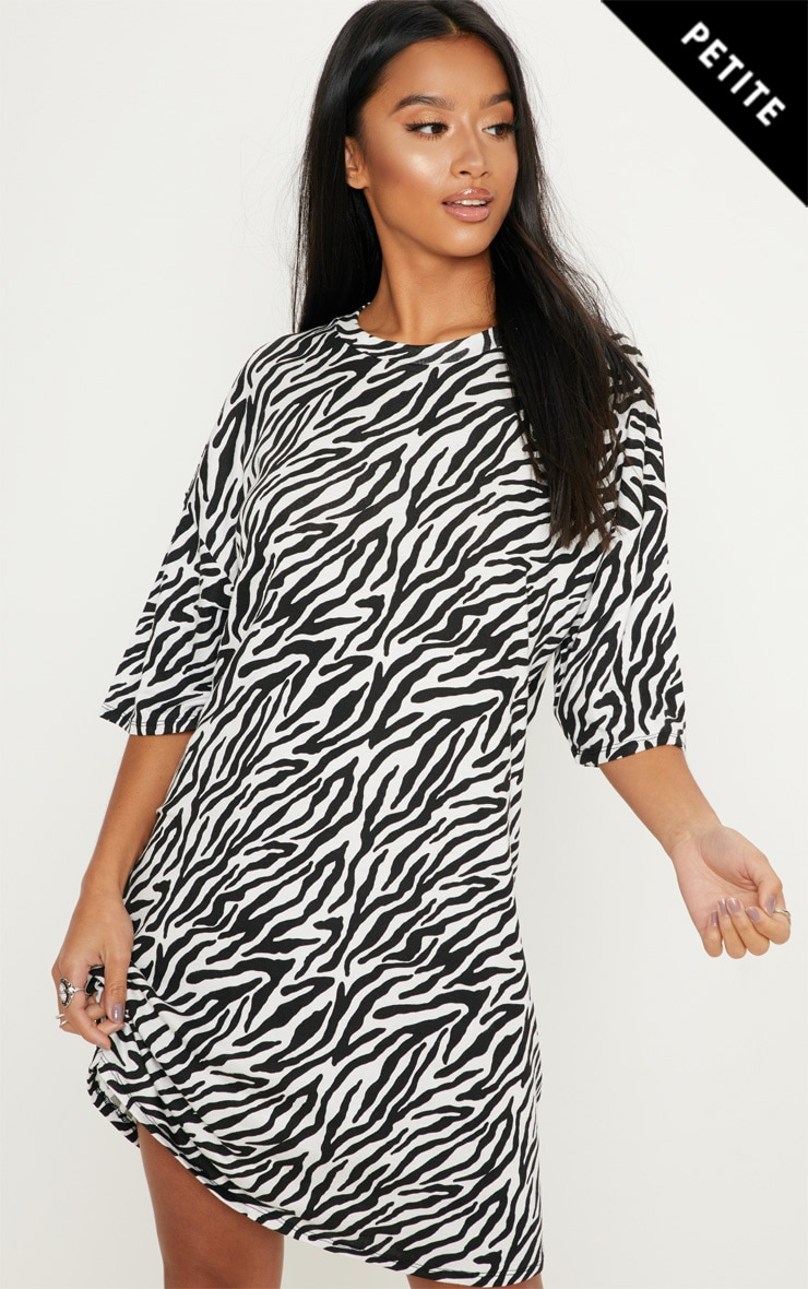 Petite Black Zebra Print Oversized T-Shirt Dress image 1 2d9c6afe2