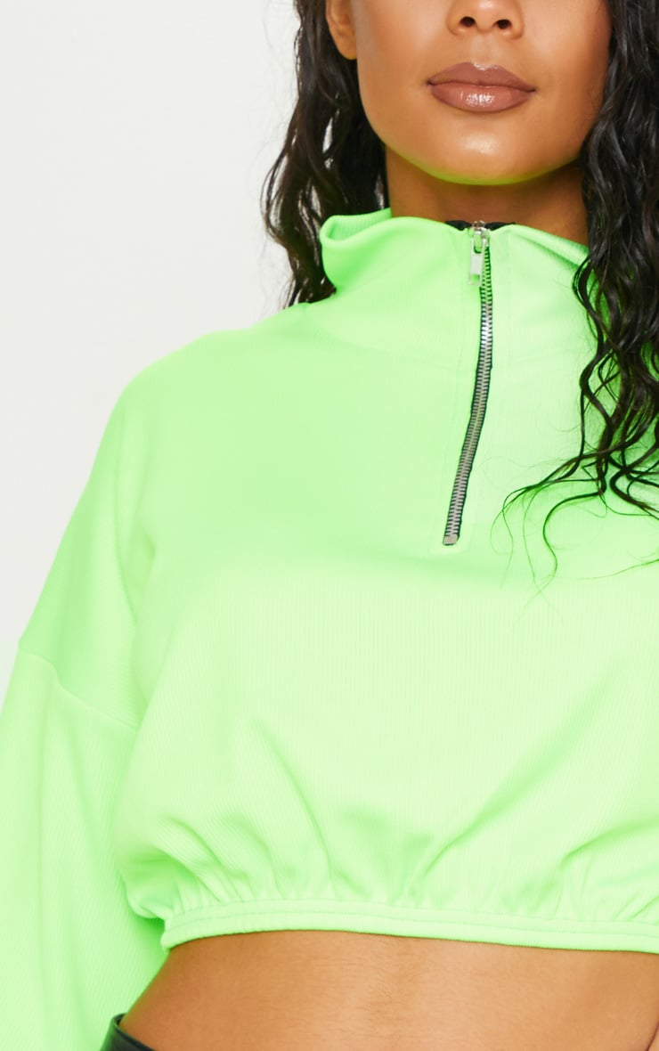 Neon Lime Rib Zip Front Long Sleeve Sweater 6