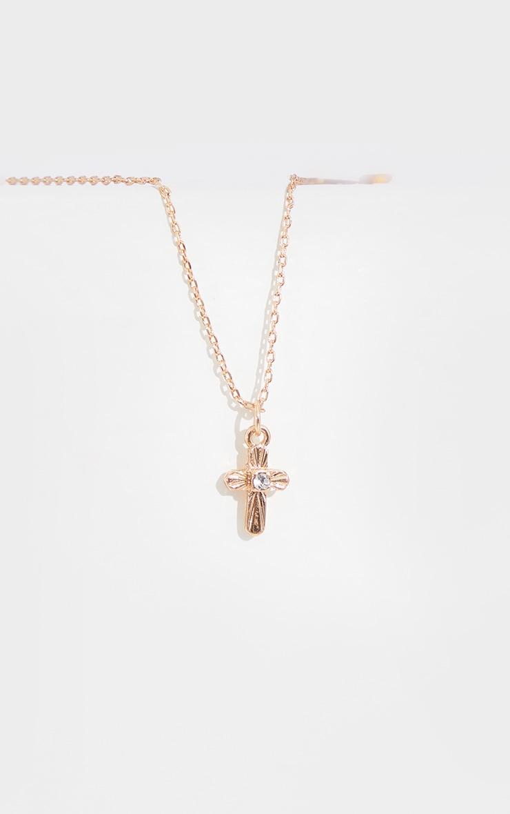 Gold Delicate Mini Cross Charm Necklace 3