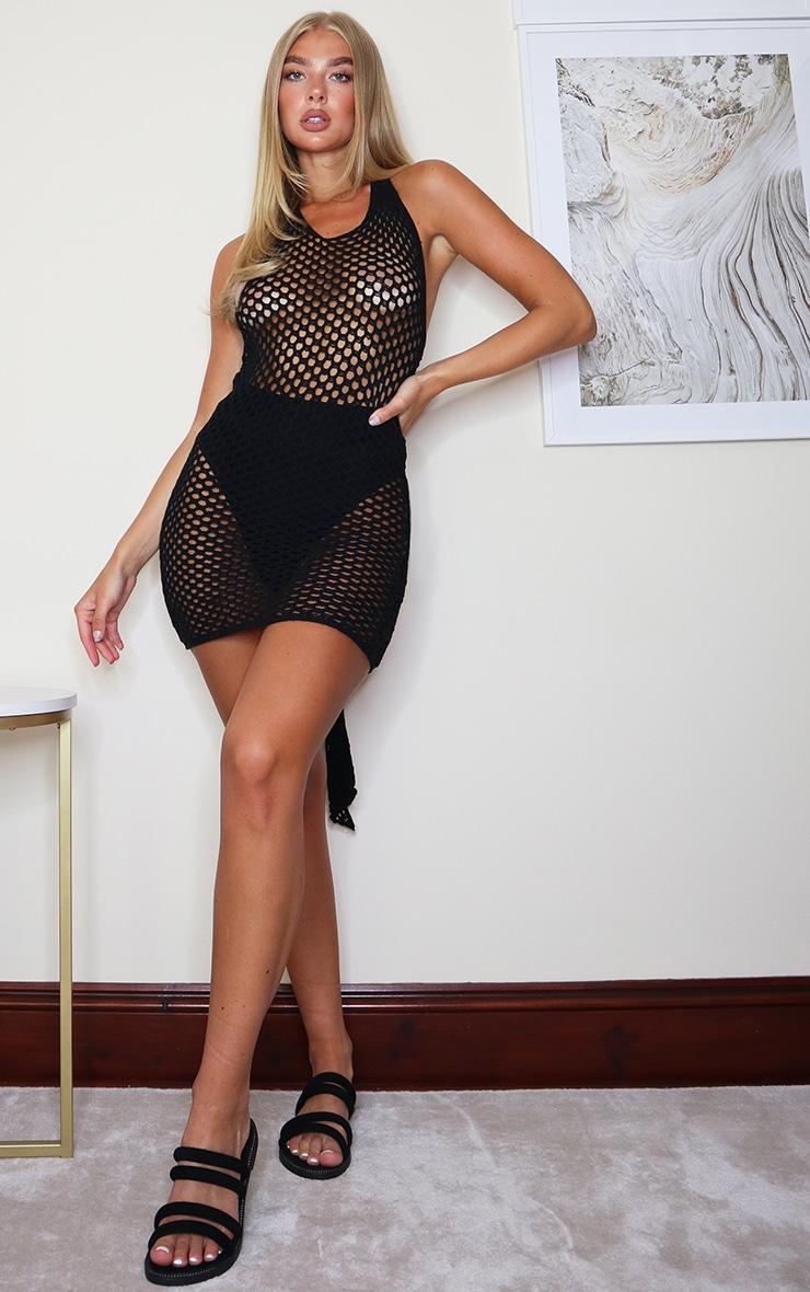 Black Tie Back Crochet Knitted Mini Dress 3