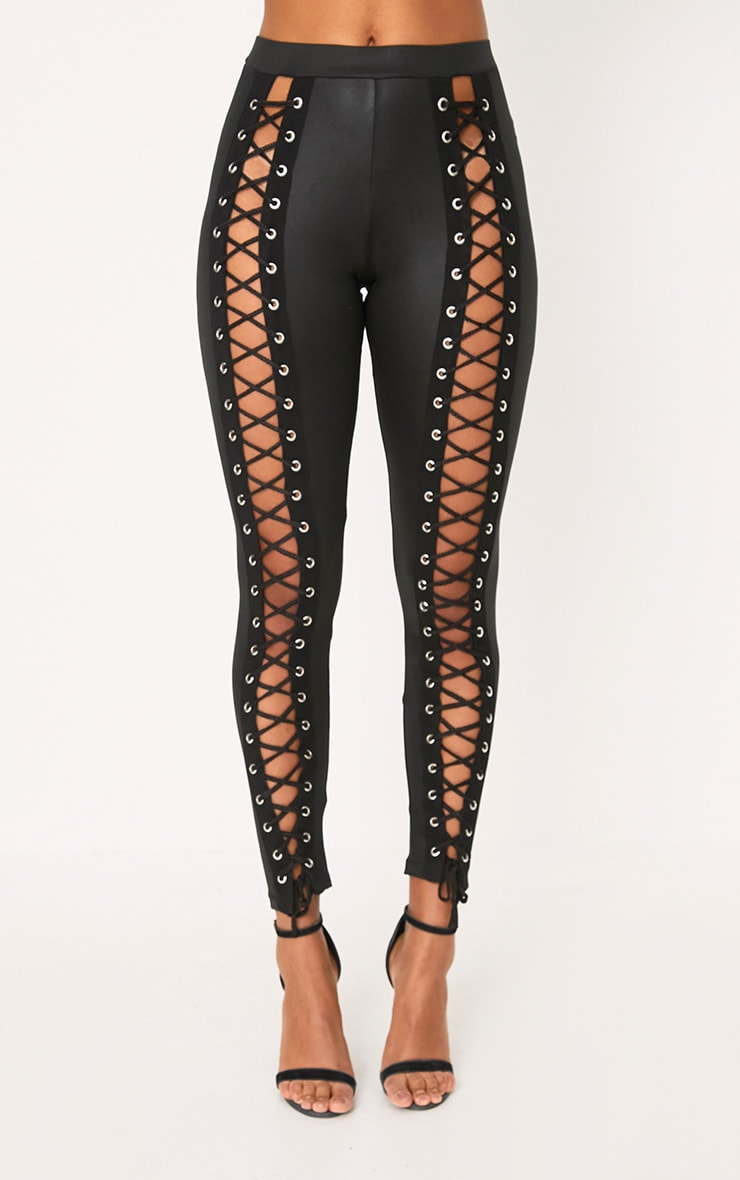 Black PU Eyelet Lace Up Skinny Trousers 2