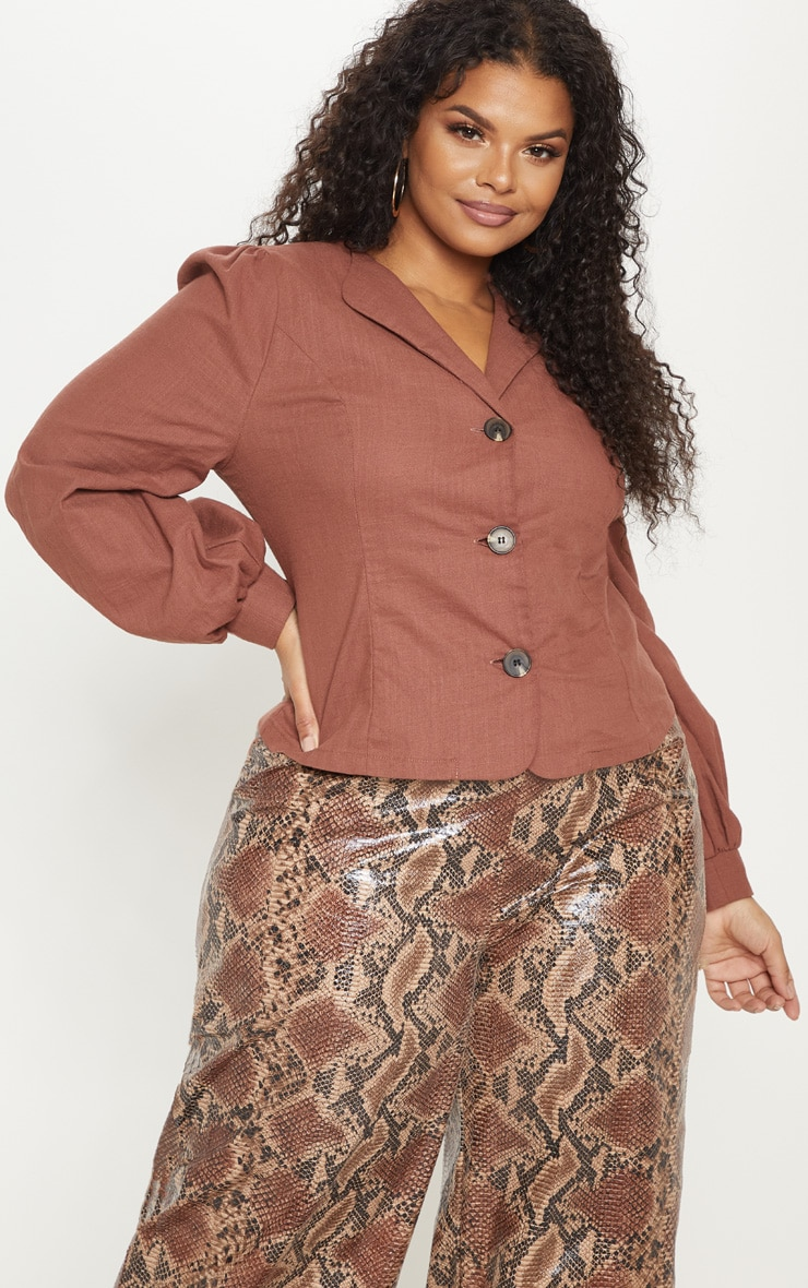 Plus Brown  Woven Button Front Puff Sleeve Top  4