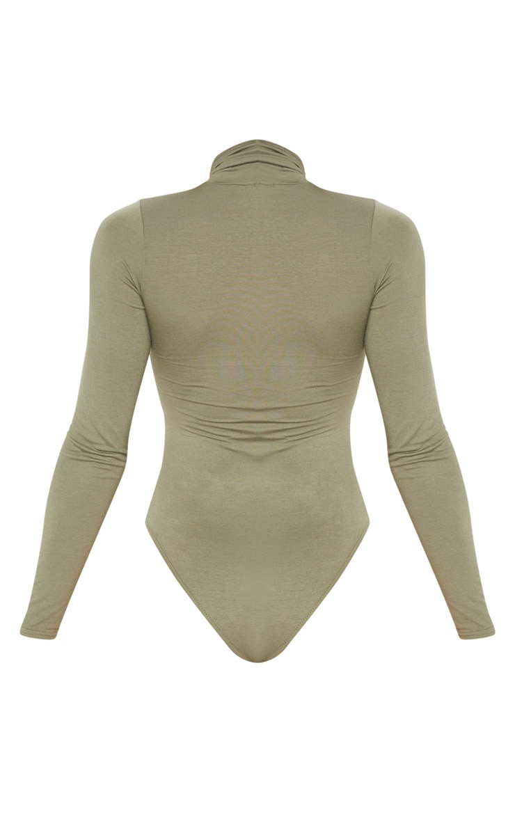 Tall Khaki Roll Neck Bodysuit 3