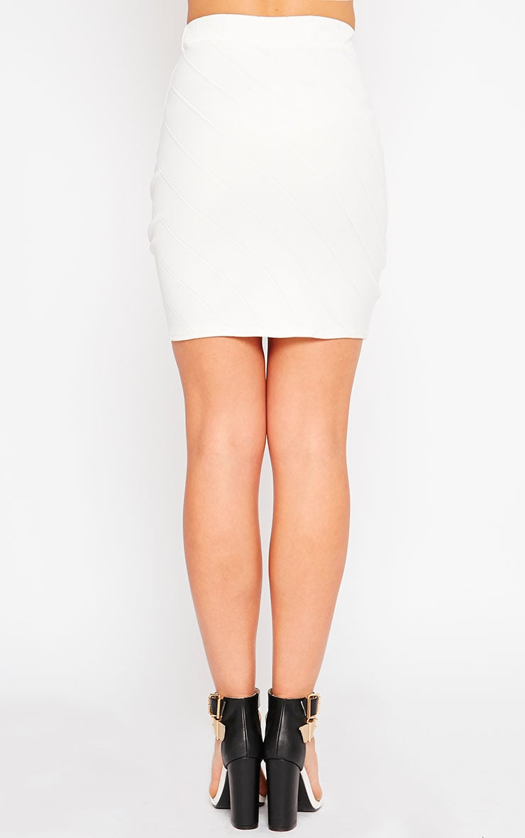 Kirsten Cream Bandage Mini Skirt 4