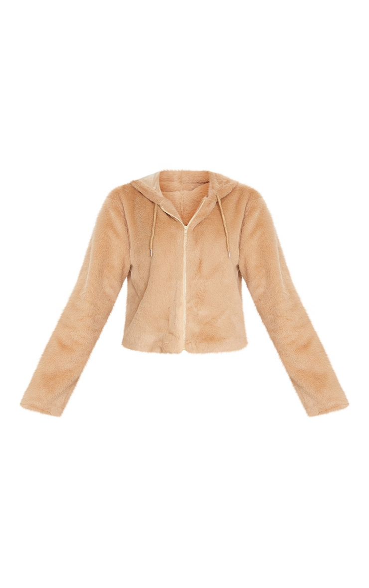 Taupe Faux Fur Cropped Hooded Jacket 5