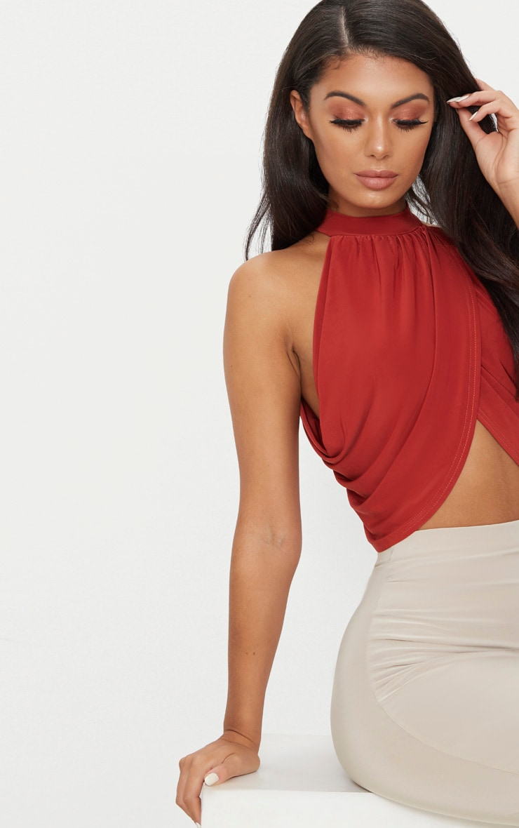 Spice Neck Wrap Open Back Crop Top 5