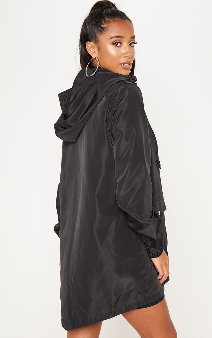 Petite Black Hooded Rain Coat  2