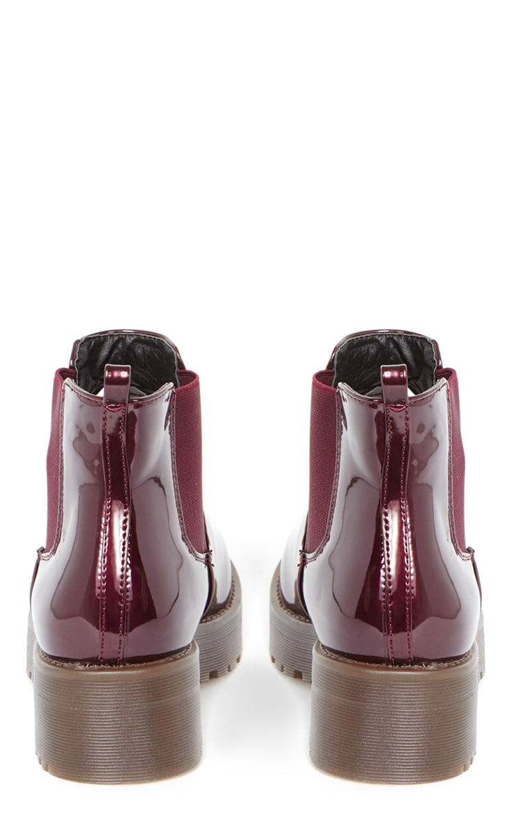 Sabine Plum Patent Cleated Sole Chelsea Boot  4