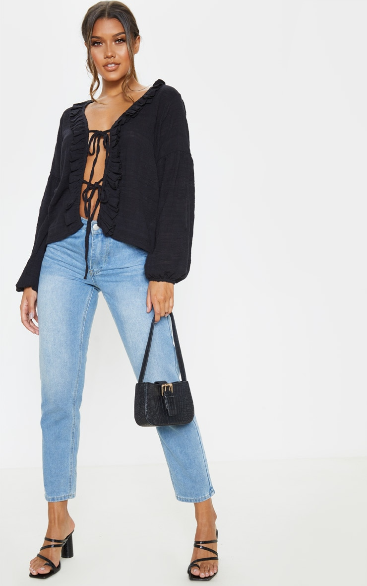 Black Cheesecloth Lace Up Puff Sleeve Blouse 3