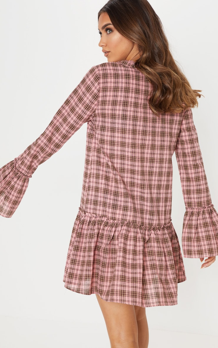 Pink Check Frill Hem Smock Dress 2