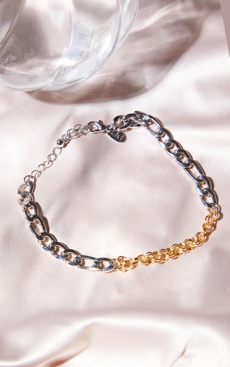 Gold And Silver Mixed Metal Mixed Chain Anklet 1