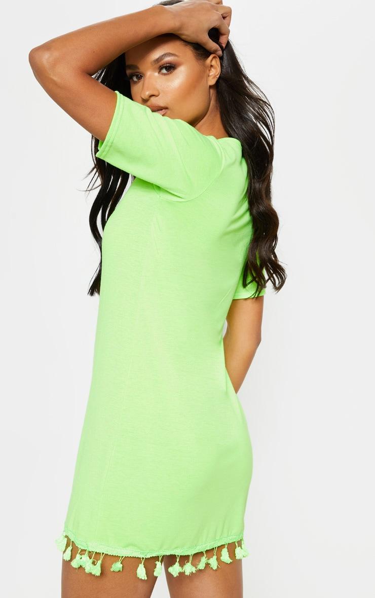 Neon Lime Tassel Trim T Shirt Dress 2
