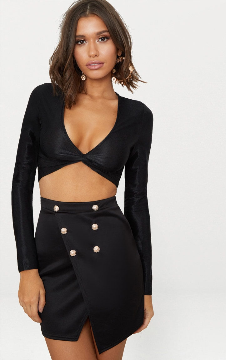 Black Button Front Wrap Over Skirts