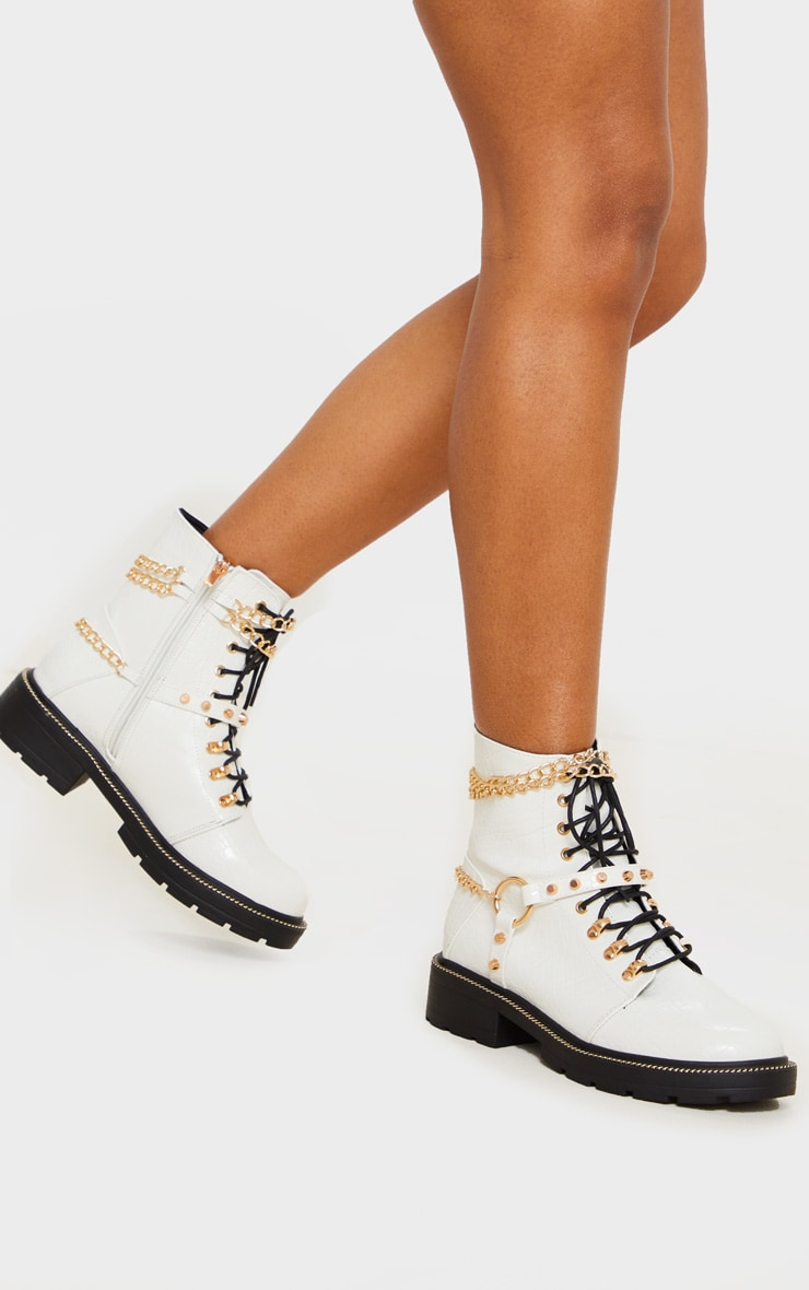 White Chain Hiker Lace Up Ankle Boot 2