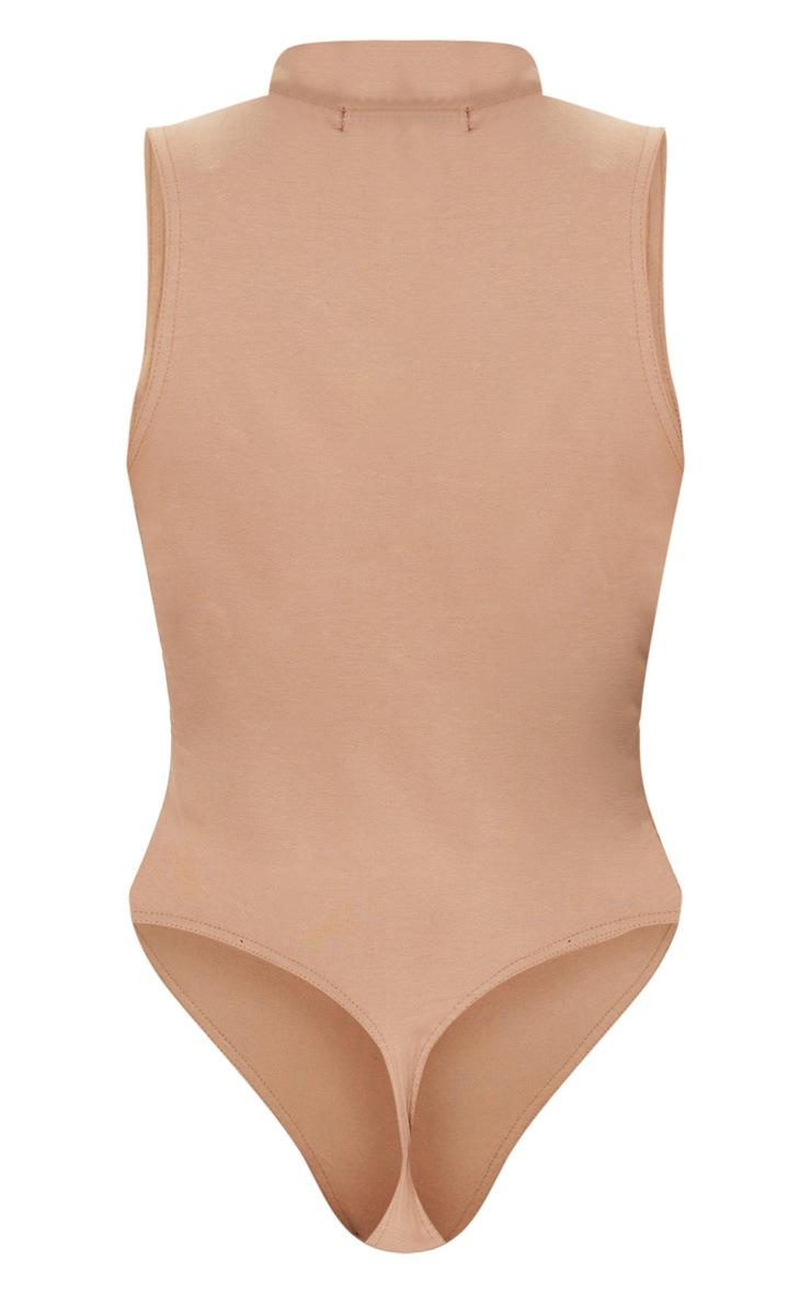 Sand High Neck Ring Zip Sleeveless Bodysuit 6