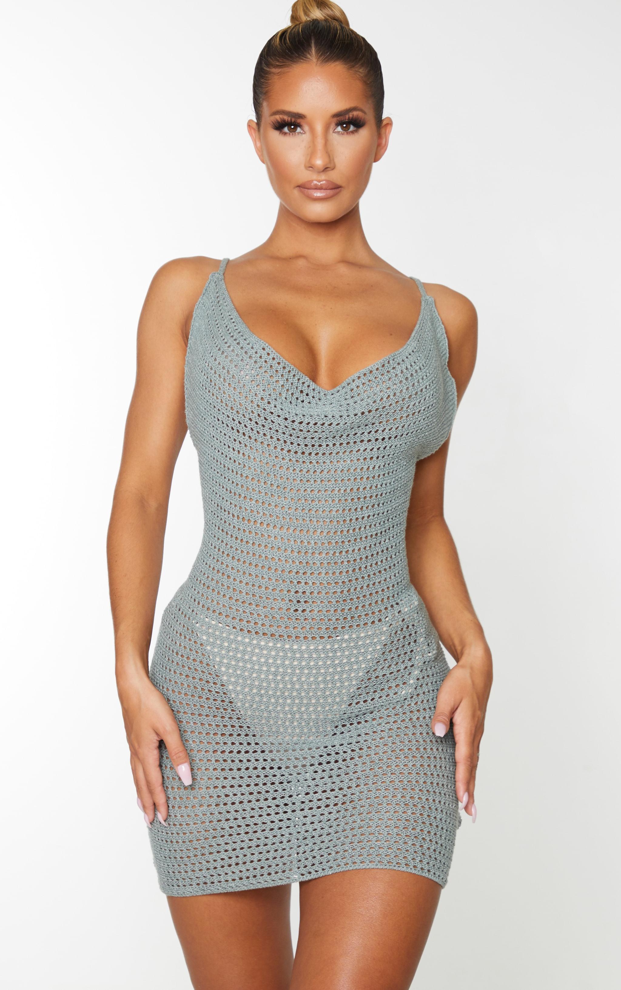 Sage Green Crochet Cowl Neck Knitted Mini Dress 1