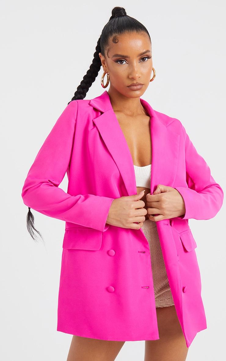 Pink Oversized Button-Down Woven Blazer 3