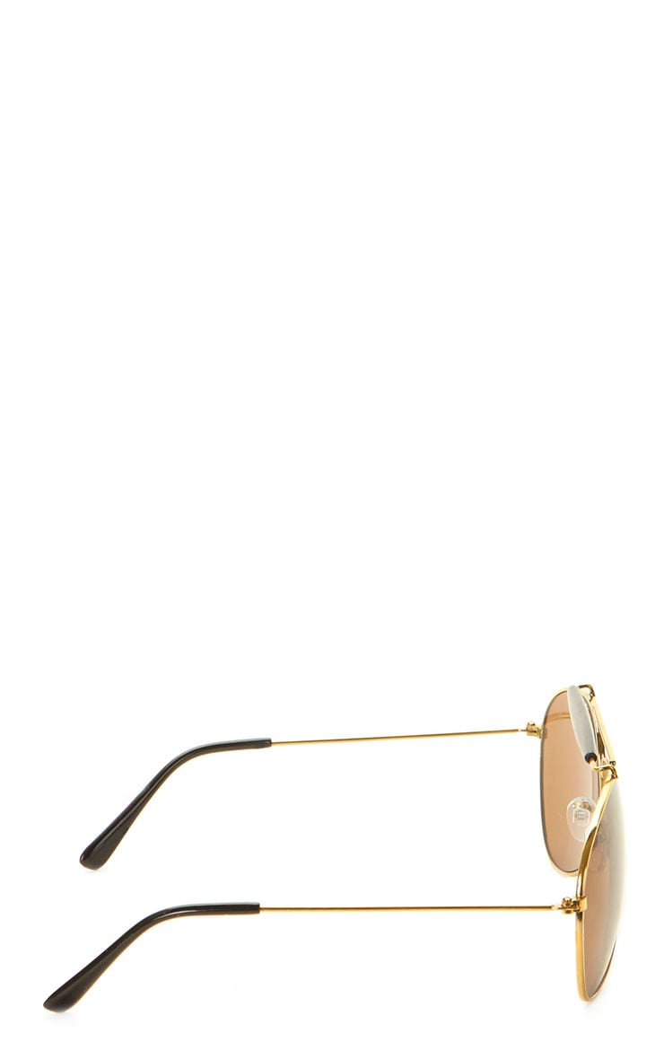 Lila Gold Frame Black Bar Aviators 5