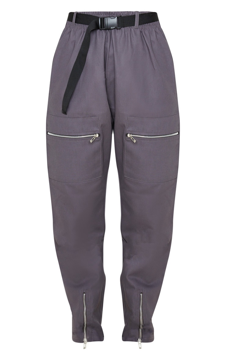 Charcoal Belted Woven Cargo Pants 3