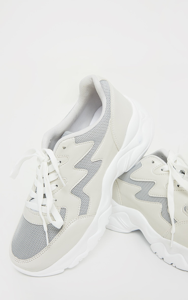 Stone Mesh And PU Contrast Wave Sneakers 3