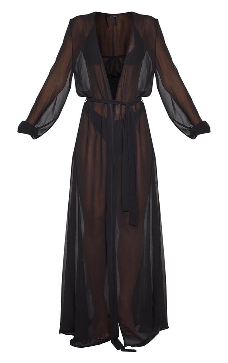 Alice Black Maxi Belted Beach Kimono 3