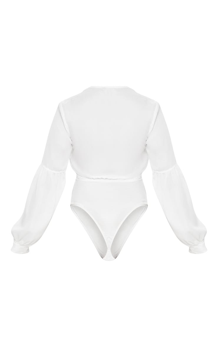 Petite Wila Cream Woven V Neck Puff Sleeve Thong Bodysuit 4