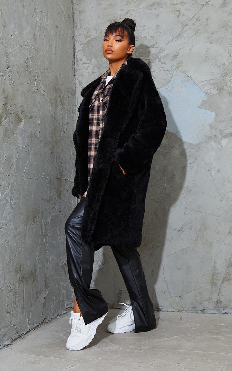 Black Teddy Faux Fur Hooded Coat 3