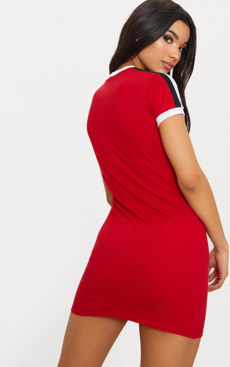 Red Triple Stripe Shoulder T Shirt Dress 2