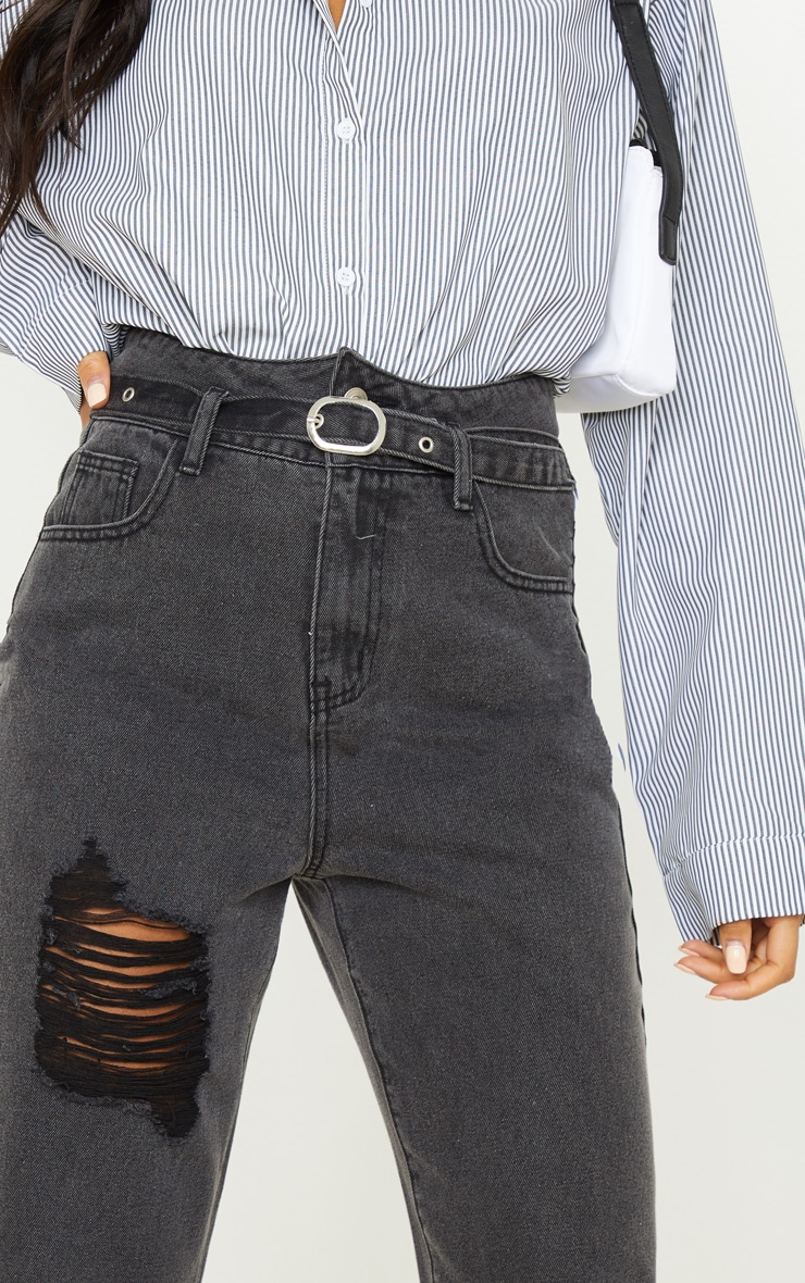 Washed Black Belt Detail Distressed Mom Jean  5