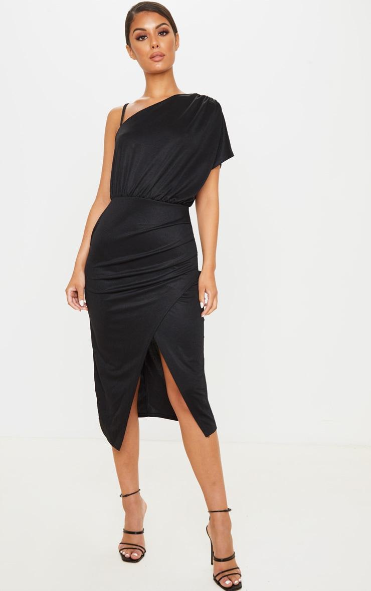 Black Drape Detail One Shoulder Midi Dress 1