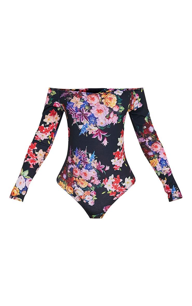 Fauna Black Bardot Multi Floral Print Thong Bodysuit 3