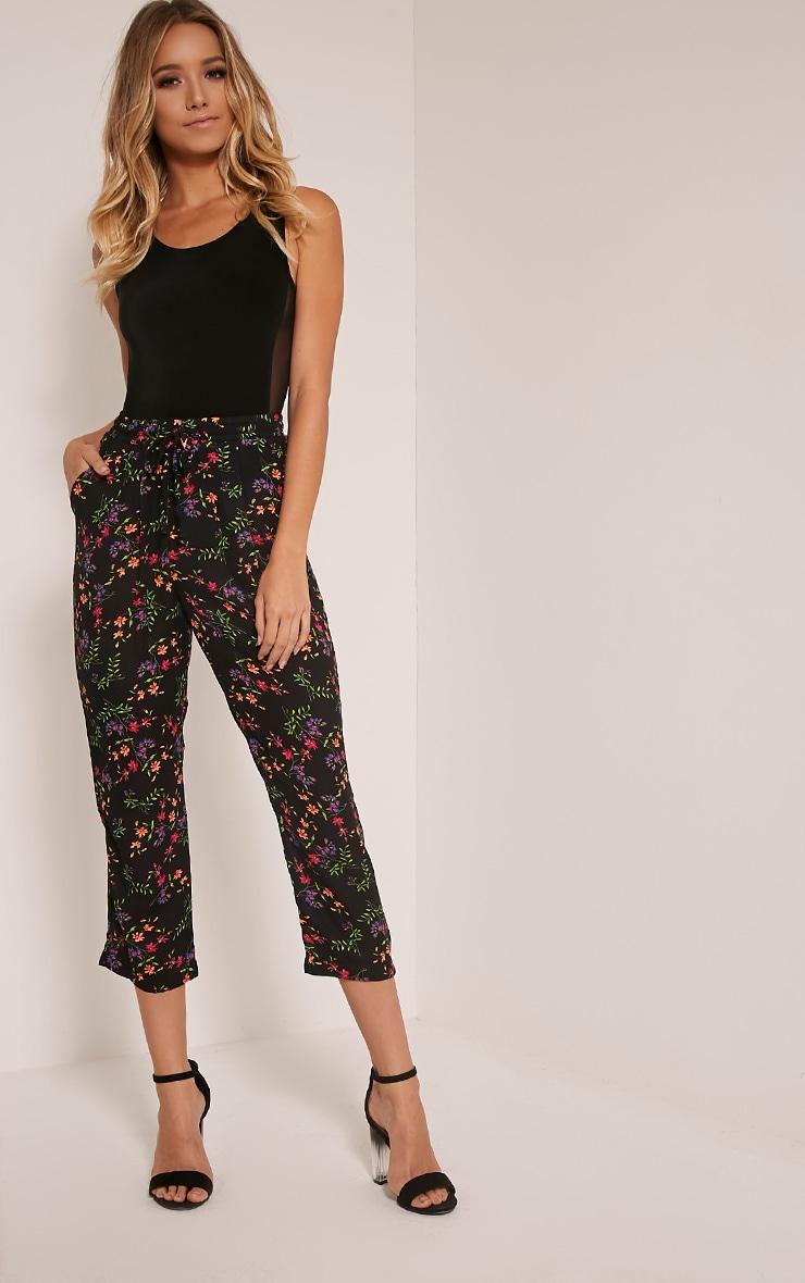 Diya Black Ditsy Floral Cropped Trousers 1