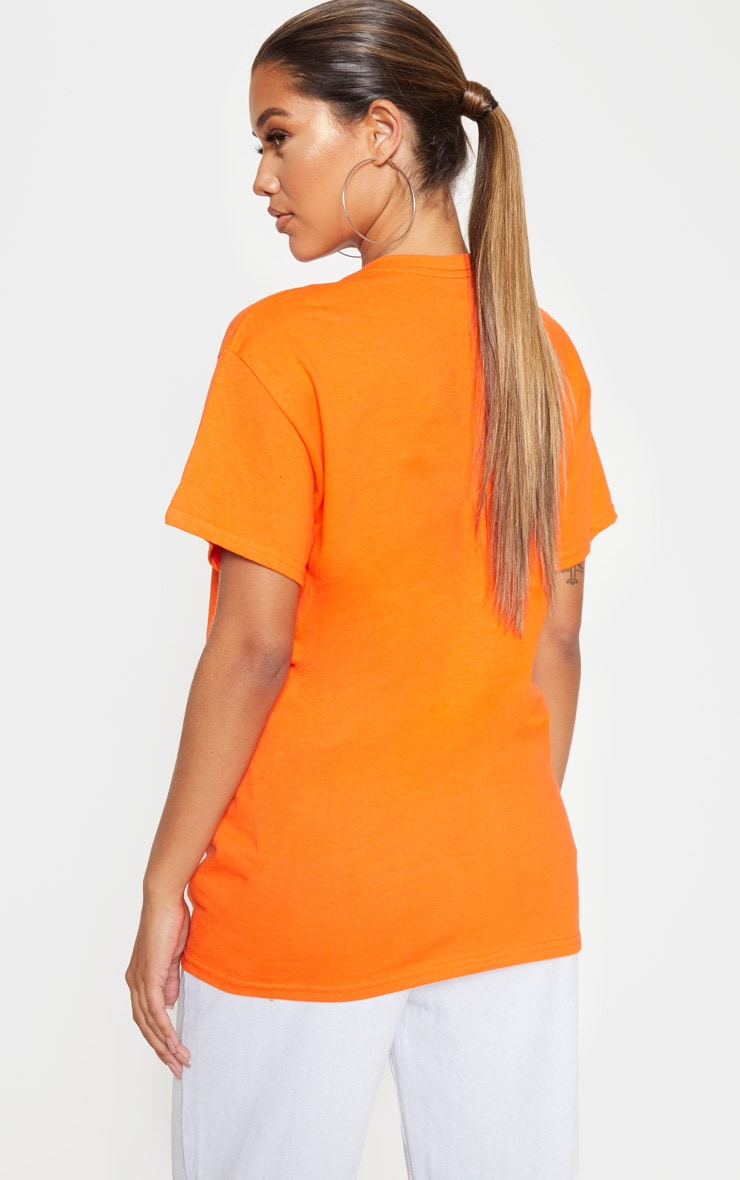 Orange Stay Connected Printed Oversized T Shirt 2