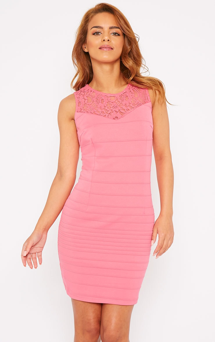 Primrose Pink Lace Top Bandage Dress 4