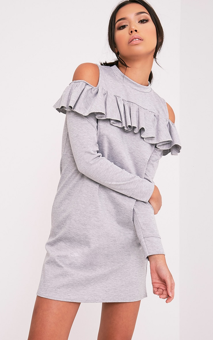 Bridy Grey Cold Shoulder Sweater Dress 1