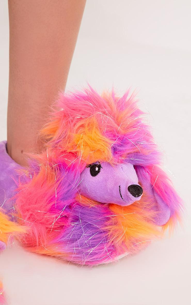 Purple Sparkle Poodle Slippers 5