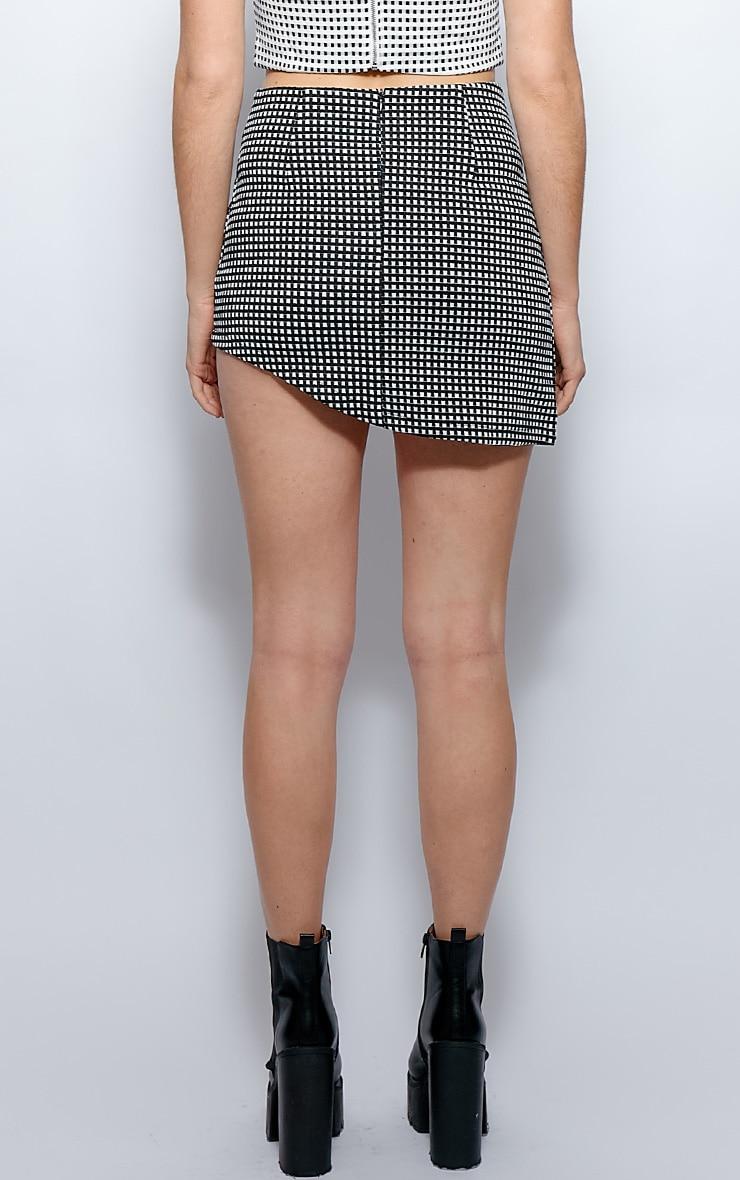 Rosie Monochrome Asymmetrical Check Skirt 2