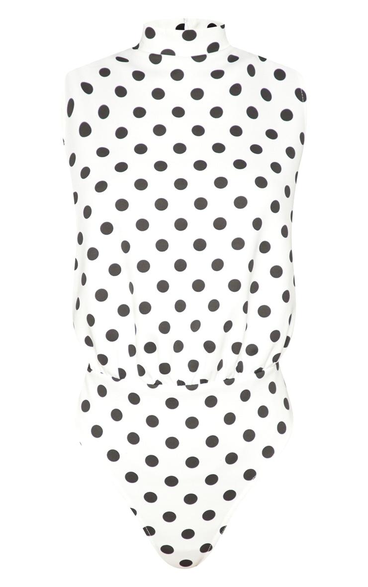 White Polka Dot Sleeveless High Neck Bodysuit 3