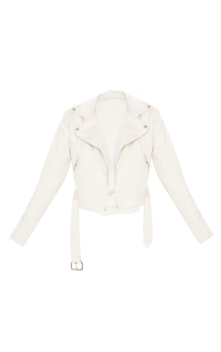 Cream Faux Suede Biker Jacket  3
