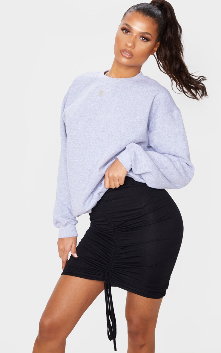 Black Jersey Ruched Front Detail Mini Skirt 1